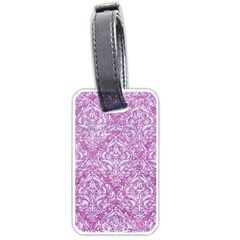 Damask1 White Marble & Purple Glitter Luggage Tags (one Side)  by trendistuff