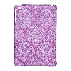 Damask1 White Marble & Purple Glitter Apple Ipad Mini Hardshell Case (compatible With Smart Cover) by trendistuff