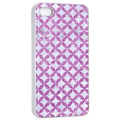 Circles3 White Marble & Purple Glitter (r) Apple Iphone 4/4s Seamless Case (white) by trendistuff