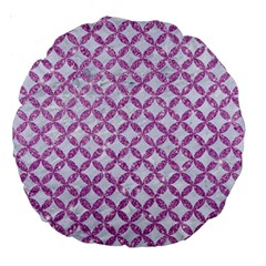 Circles3 White Marble & Purple Glitter (r) Large 18  Premium Round Cushions by trendistuff