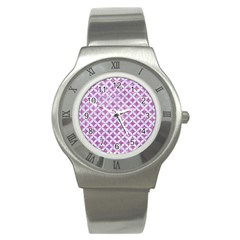 Circles3 White Marble & Purple Glitter Stainless Steel Watch by trendistuff