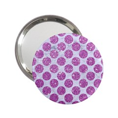 Circles2 White Marble & Purple Glitter (r) 2 25  Handbag Mirrors by trendistuff