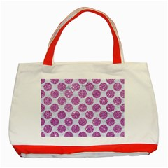 Circles2 White Marble & Purple Glitter (r) Classic Tote Bag (red) by trendistuff