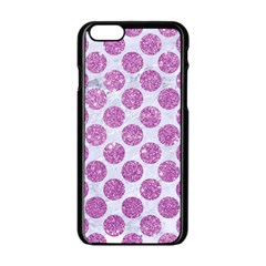 Circles2 White Marble & Purple Glitter (r) Apple Iphone 6/6s Black Enamel Case by trendistuff