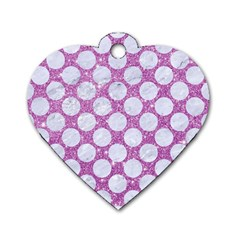 Circles2 White Marble & Purple Glitter Dog Tag Heart (one Side) by trendistuff