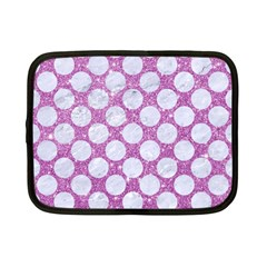 Circles2 White Marble & Purple Glitter Netbook Case (small)
