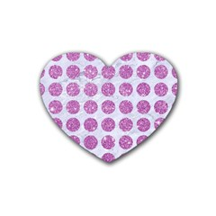 Circles1 White Marble & Purple Glitter (r) Heart Coaster (4 Pack)  by trendistuff