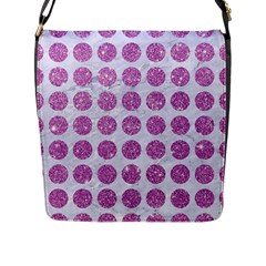 Circles1 White Marble & Purple Glitter (r) Flap Messenger Bag (l)  by trendistuff