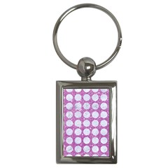 Circles1 White Marble & Purple Glitter Key Chains (rectangle)  by trendistuff