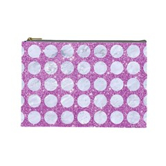 Circles1 White Marble & Purple Glitter Cosmetic Bag (large)  by trendistuff