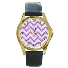 Chevron9 White Marble & Purple Glitter (r) Round Gold Metal Watch by trendistuff