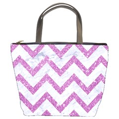 Chevron9 White Marble & Purple Glitter (r) Bucket Bags