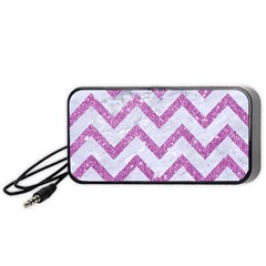 Chevron9 White Marble & Purple Glitter (r) Portable Speaker by trendistuff