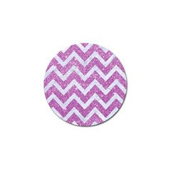 Chevron9 White Marble & Purple Glitter Golf Ball Marker by trendistuff