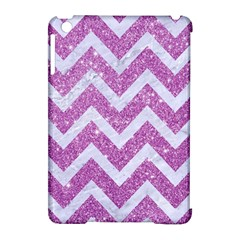 Chevron9 White Marble & Purple Glitter Apple Ipad Mini Hardshell Case (compatible With Smart Cover) by trendistuff