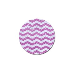 Chevron3 White Marble & Purple Glitter Golf Ball Marker (4 Pack) by trendistuff