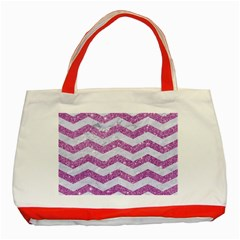 Chevron3 White Marble & Purple Glitter Classic Tote Bag (red) by trendistuff