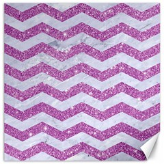 Chevron3 White Marble & Purple Glitter Canvas 16  X 16   by trendistuff