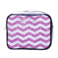 Chevron3 White Marble & Purple Glitter Mini Toiletries Bags by trendistuff