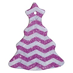 Chevron3 White Marble & Purple Glitter Christmas Tree Ornament (two Sides) by trendistuff