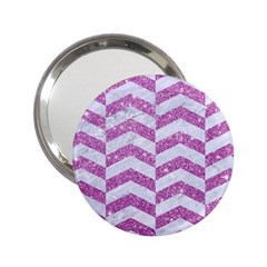 Chevron2 White Marble & Purple Glitter 2 25  Handbag Mirrors by trendistuff