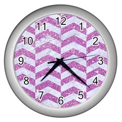 Chevron2 White Marble & Purple Glitter Wall Clocks (silver)  by trendistuff