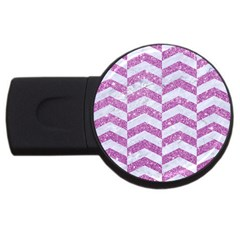 Chevron2 White Marble & Purple Glitter Usb Flash Drive Round (2 Gb) by trendistuff