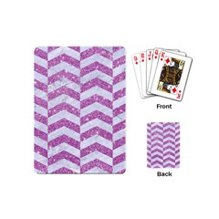 Chevron2 White Marble & Purple Glitter Playing Cards (mini)  by trendistuff