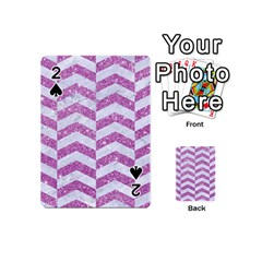 Chevron2 White Marble & Purple Glitter Playing Cards 54 (mini)  by trendistuff