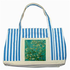 Almond Blossom  Striped Blue Tote Bag by Valentinaart