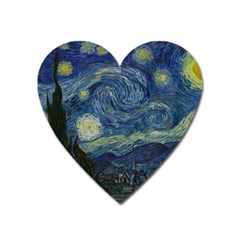 The Starry Night  Heart Magnet by Valentinaart