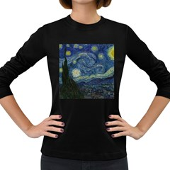 The Starry Night  Women s Long Sleeve Dark T Shirts by Valentinaart