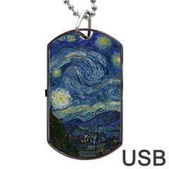 The Starry Night  Dog Tag Usb Flash (two Sides) by Valentinaart