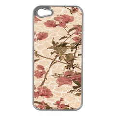 Textured Vintage Floral Design Apple Iphone 5 Case (silver) by dflcprints