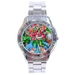 Paint, Flowers And Book Stainless Steel Analogue Watch by bestdesignintheworld