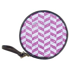 Chevron1 White Marble & Purple Glitter Classic 20 Cd Wallets by trendistuff