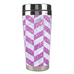 Chevron1 White Marble & Purple Glitter Stainless Steel Travel Tumblers by trendistuff