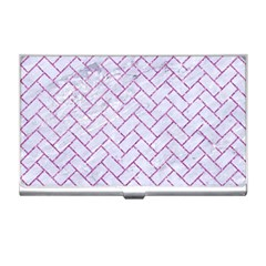 Brick2 White Marble & Purple Glitter (r) Business Card Holders by trendistuff