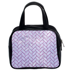 Brick2 White Marble & Purple Glitter (r) Classic Handbags (2 Sides) by trendistuff