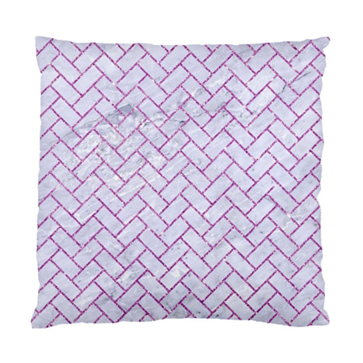BRICK2 WHITE MARBLE & PURPLE GLITTER (R) Standard Cushion Case (Two Sides)