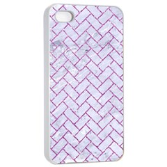 Brick2 White Marble & Purple Glitter (r) Apple Iphone 4/4s Seamless Case (white) by trendistuff