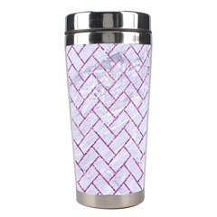 Brick2 White Marble & Purple Glitter (r) Stainless Steel Travel Tumblers by trendistuff
