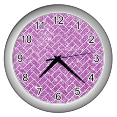 Brick2 White Marble & Purple Glitter Wall Clocks (silver)  by trendistuff