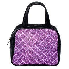 Brick2 White Marble & Purple Glitter Classic Handbags (one Side) by trendistuff