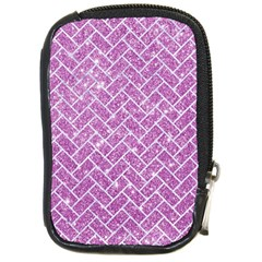 Brick2 White Marble & Purple Glitter Compact Camera Cases by trendistuff