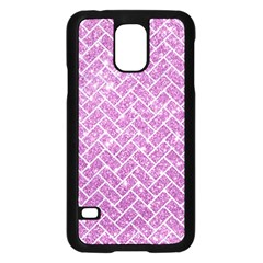 Brick2 White Marble & Purple Glitter Samsung Galaxy S5 Case (black)