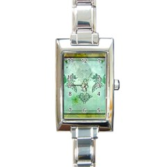 Music, Decorative Clef With Floral Elements Rectangle Italian Charm Watch by FantasyWorld7