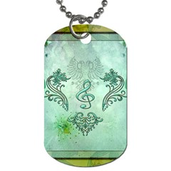 Music, Decorative Clef With Floral Elements Dog Tag (two Sides) by FantasyWorld7