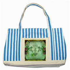 Music, Decorative Clef With Floral Elements Striped Blue Tote Bag by FantasyWorld7