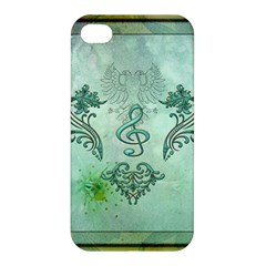 Music, Decorative Clef With Floral Elements Apple Iphone 4/4s Hardshell Case by FantasyWorld7